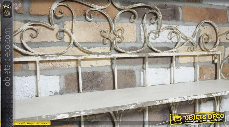 etagere murale fer forgé blanc