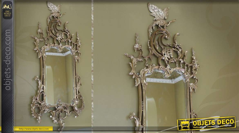Grand miroir mural de style ancien en bois patin vieil argent for Miroir 3 pans