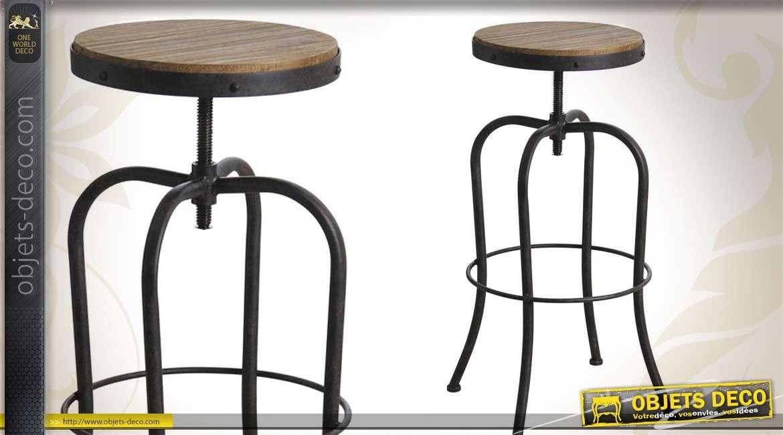 tabouret de bar de style indus en m tal et bois. Black Bedroom Furniture Sets. Home Design Ideas
