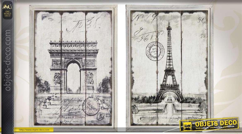 Série de 2 tableaux décoratifs sur le thème de Paris