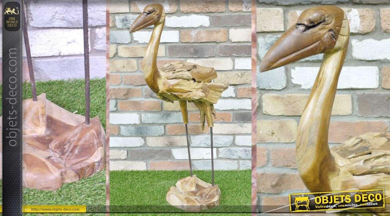 Grande statuette stylis e d 39 oiseau en bois for Objet deco animaux