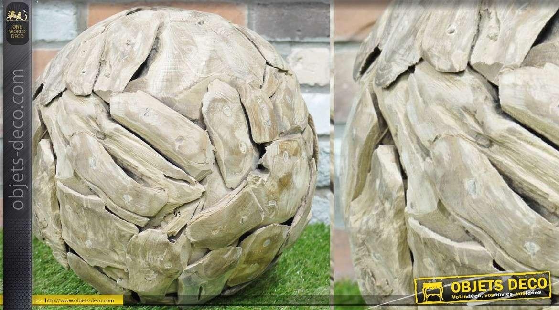Grande boule d corative en bois flott finition naturelle for Objet deco en bois flotte