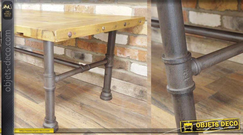 Table basse indus façon établi d'atelier vintage