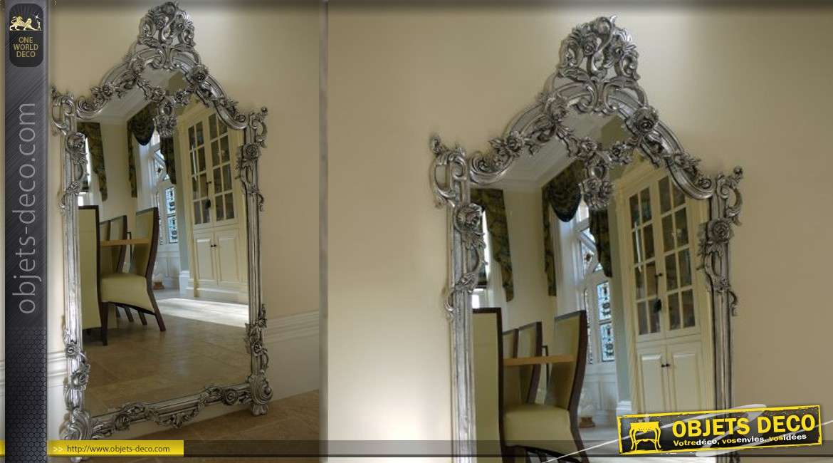 grand miroir mural de style ancien en bois patin vieil argent. Black Bedroom Furniture Sets. Home Design Ideas