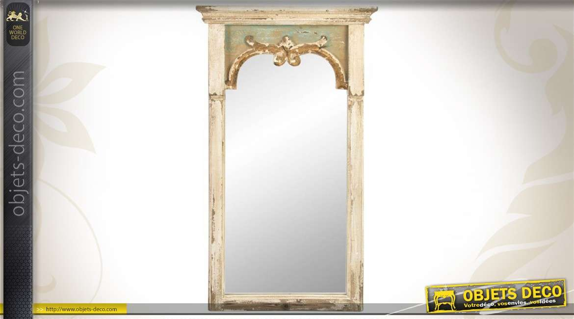 miroir mural de style ancien en bois patin. Black Bedroom Furniture Sets. Home Design Ideas