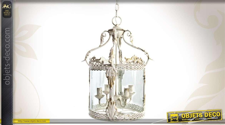 Suspension lanterne de style ancien en métal vieilli et en verre
