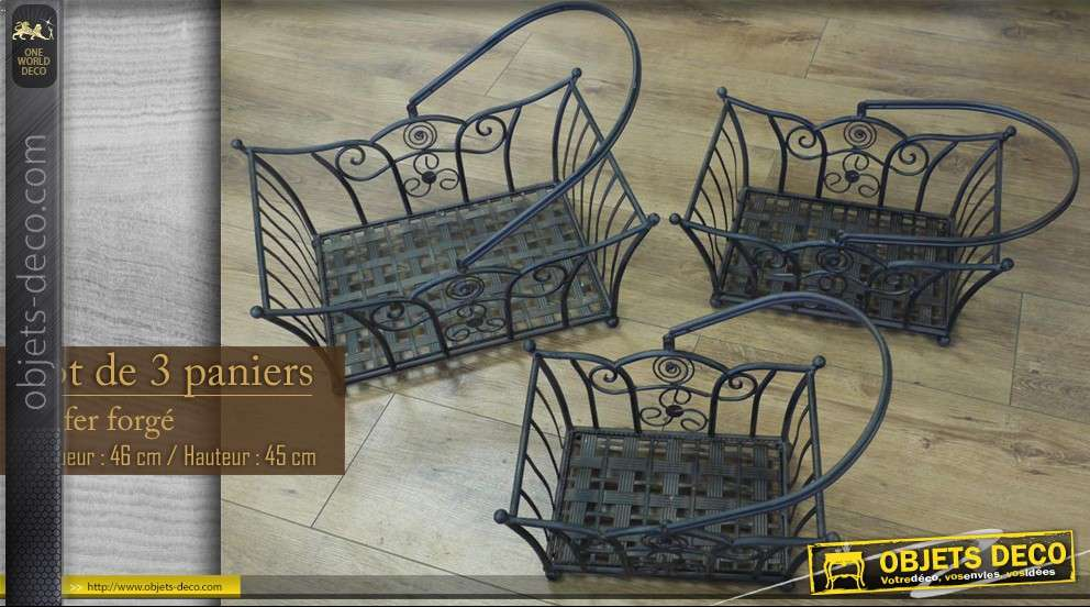 lot de 3 paniers en fer forg. Black Bedroom Furniture Sets. Home Design Ideas