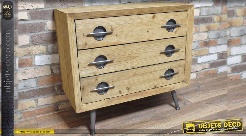 Commode en bois à 3 tiroirs de style indus vintage