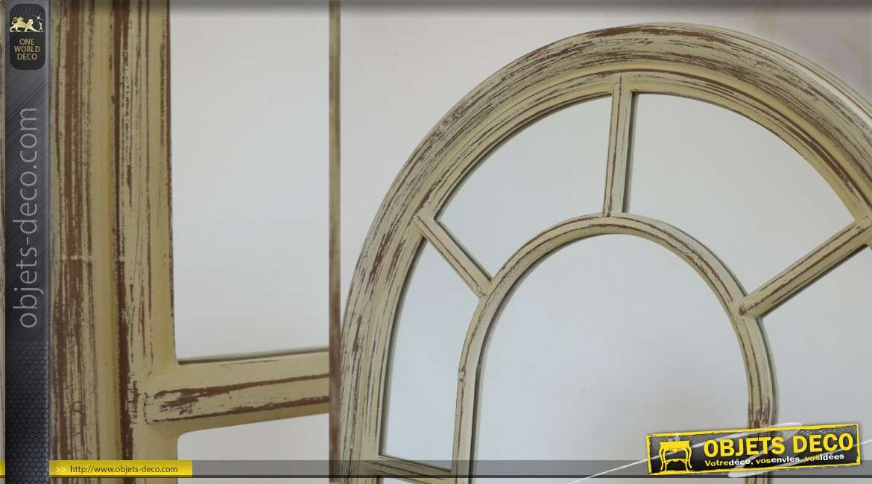 miroir fen tre mural en bois patin finition ancienne. Black Bedroom Furniture Sets. Home Design Ideas