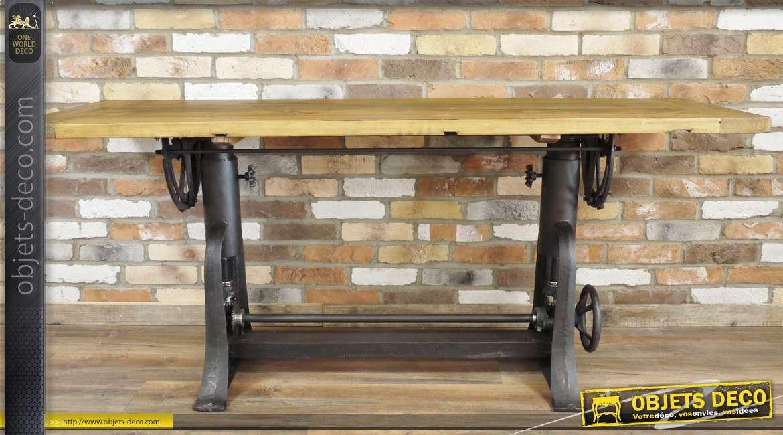 grande table en bois et en m tal d 39 inspiration industrielle. Black Bedroom Furniture Sets. Home Design Ideas