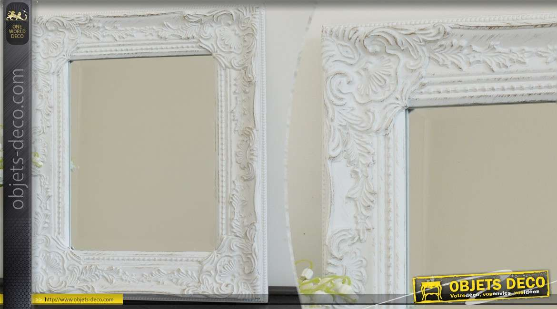 miroir mural de charme coloris blanc. Black Bedroom Furniture Sets. Home Design Ideas
