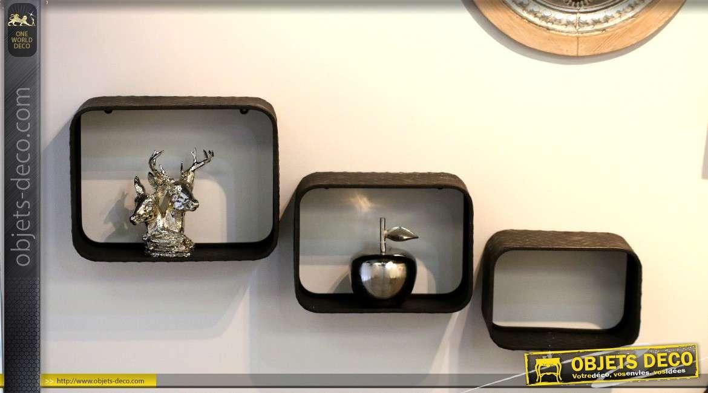 Série de 3 étagères murales métalliques