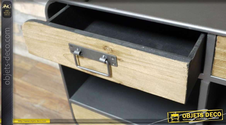 Cabinet industriel en m tal et bois - Meuble d appoint metal ...