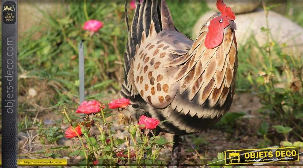 Poule d corative en m tal peint for Objets decoratifs de jardin