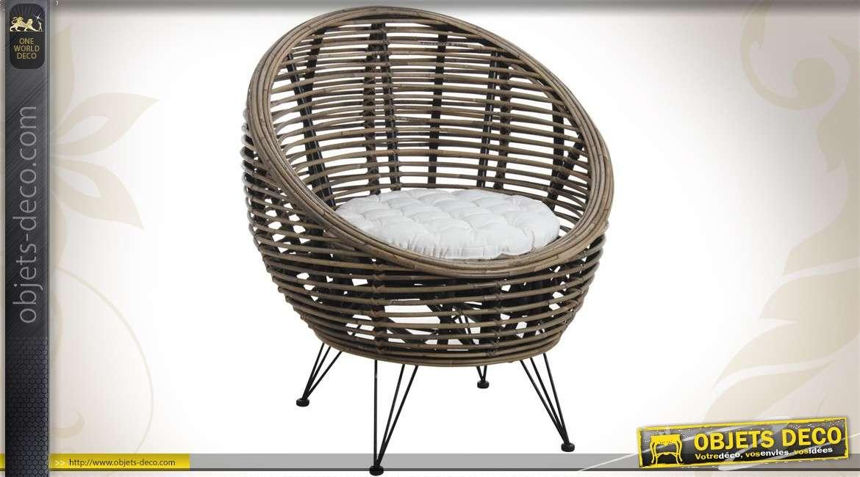 Fauteuil contemporain avec coussin d'assise coloris blanc