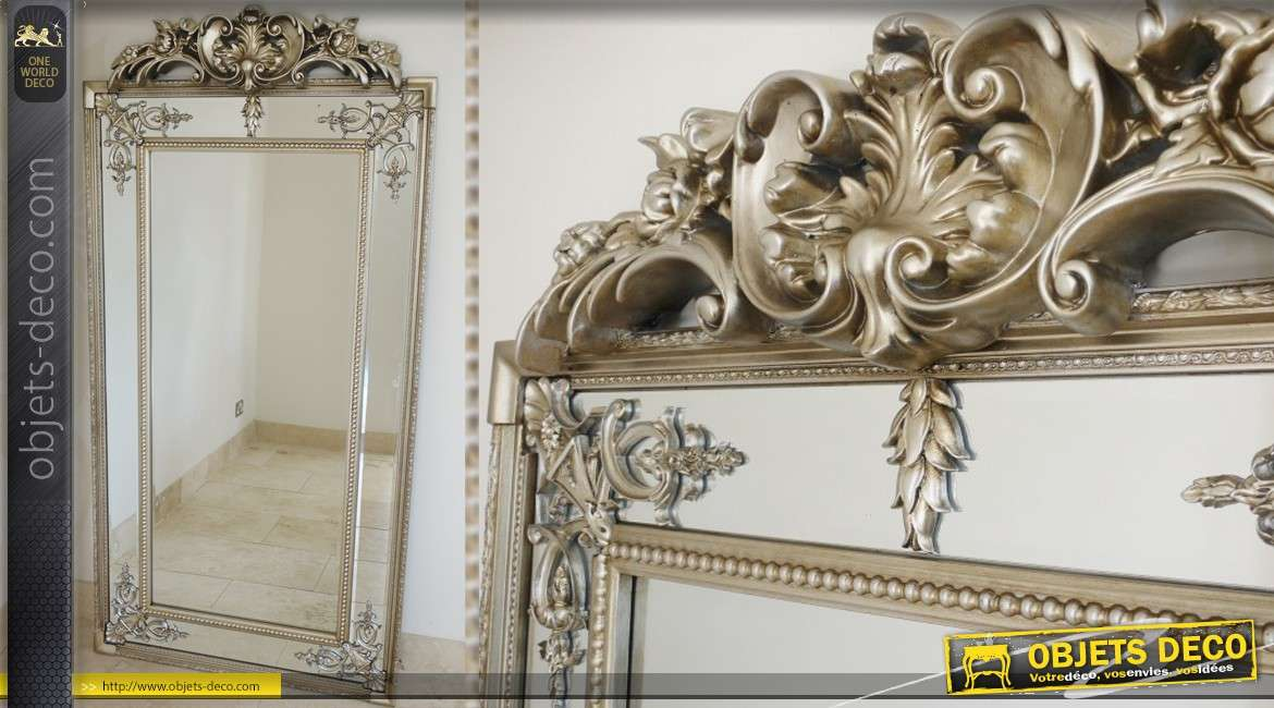 Grand miroir parcloses style louis philippe finition dor e for Grand miroir mural
