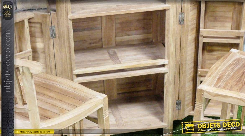 bar extensible avec deux chaises hautes en teck massif. Black Bedroom Furniture Sets. Home Design Ideas
