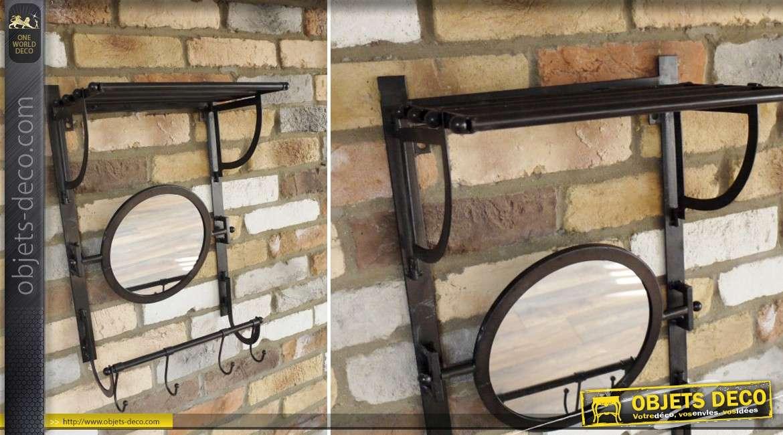 Miroir de vestiaire r tro et industriel avec tag re patine noir antique for Miroir mural industriel