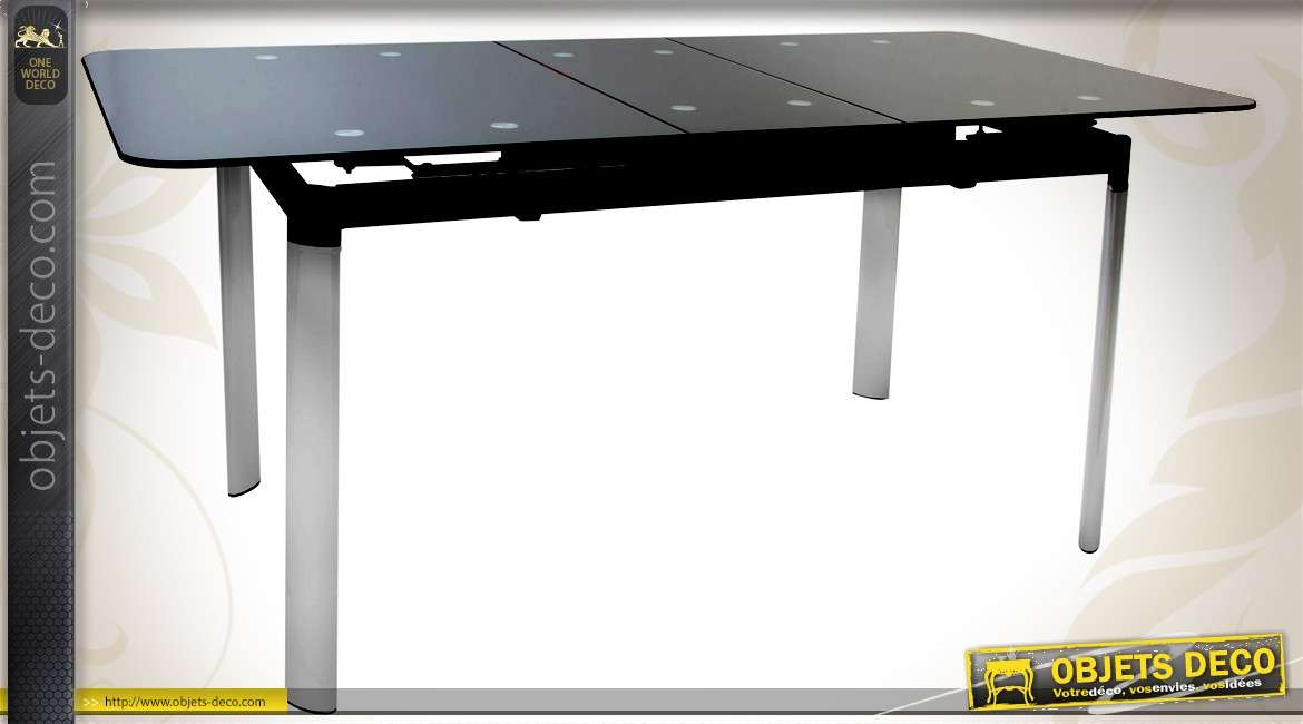 Table design extensible en verre et m tal noir et argent for Table extensible en largeur