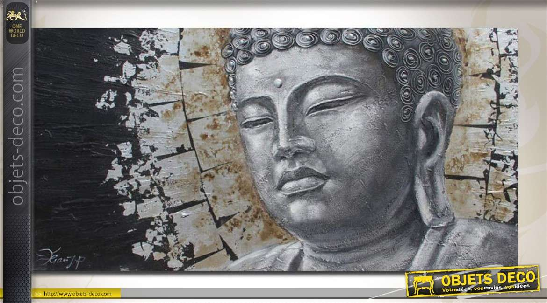 grande toile t te de bouddha peinte la main en 140 x 70 cm. Black Bedroom Furniture Sets. Home Design Ideas