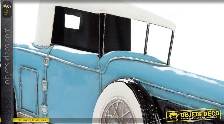 d coration murale en m tal ancienne voiture us bleue et noire. Black Bedroom Furniture Sets. Home Design Ideas