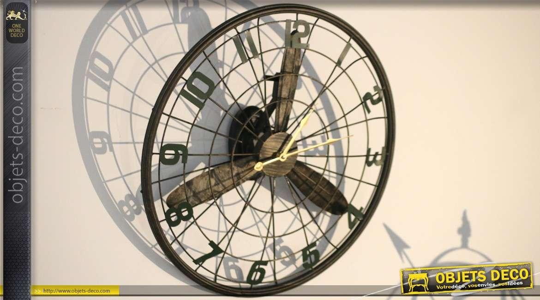 Horloge murale hélice d'avion style indus Ø 60 cm