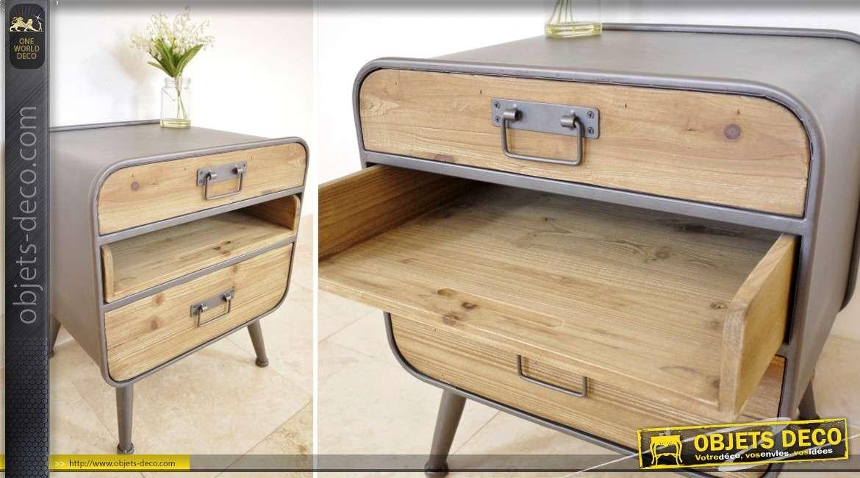 Table de nuit en bois et m tal de style industriel et vintage Table de chevet style industriel