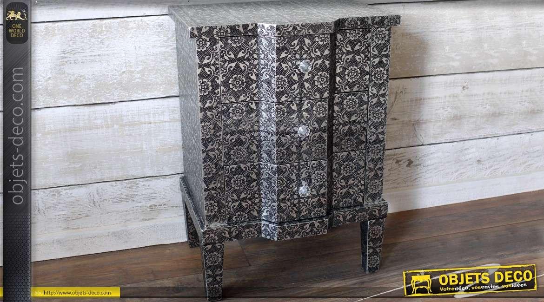 petite commode arbal te 3 tiroirs de style marocain noir et argent. Black Bedroom Furniture Sets. Home Design Ideas