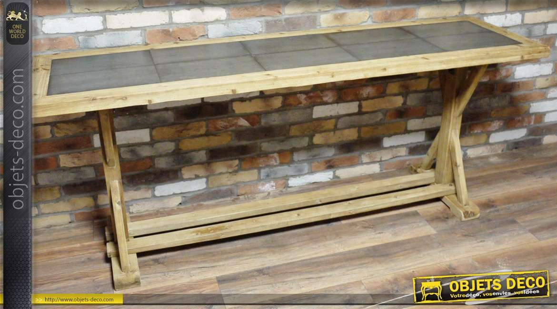 Grande Table Bois Massif - Grande table de style industriel en bois massif et métal vieilli 200 cm