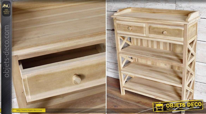 console de rangement 4 niveaux en bois massif sans finition. Black Bedroom Furniture Sets. Home Design Ideas