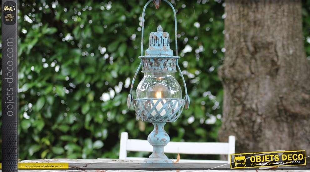 lanterne temp te ancienne patine bleue. Black Bedroom Furniture Sets. Home Design Ideas