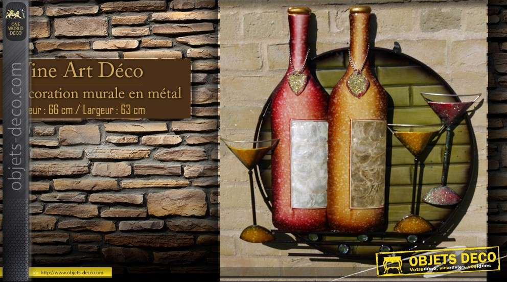D co murale en fer forg wine art for Decoration murale vin