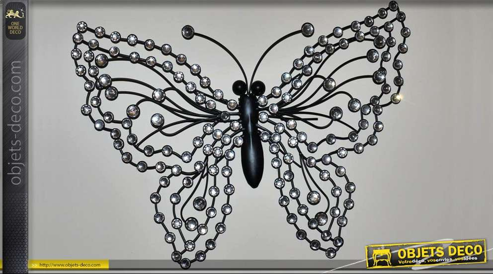 Papillon d co murale en fer forg et brillants - Deco murale fer forge ...