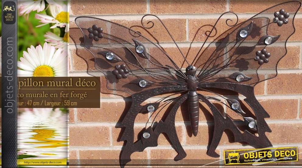 Papillon mural en fer forg for Decor mural fer forge