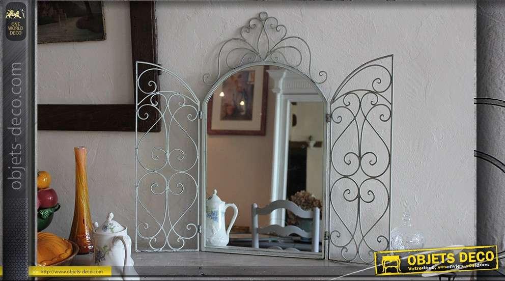 Miroir marquise en fer forgé