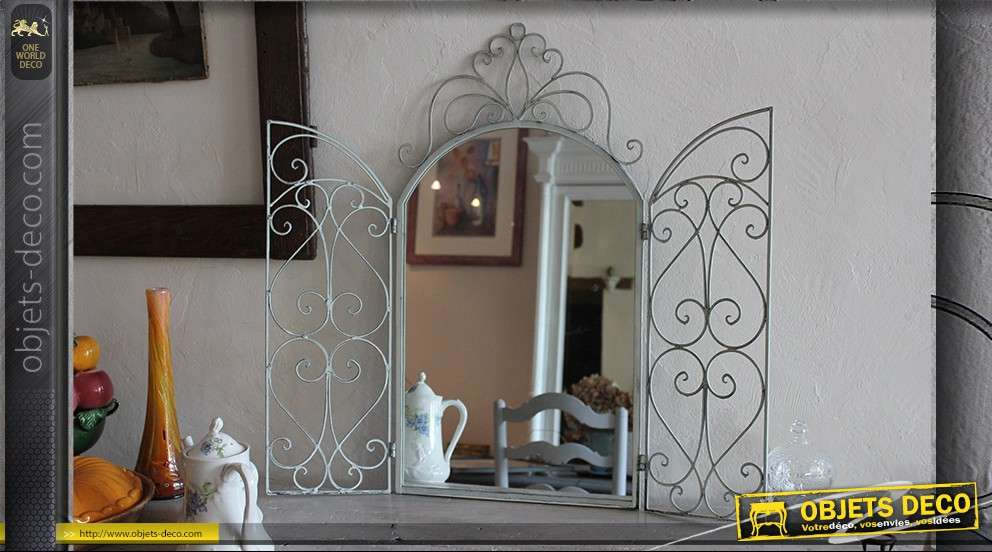 Miroir marquise en fer forg for Miroir 2 metres