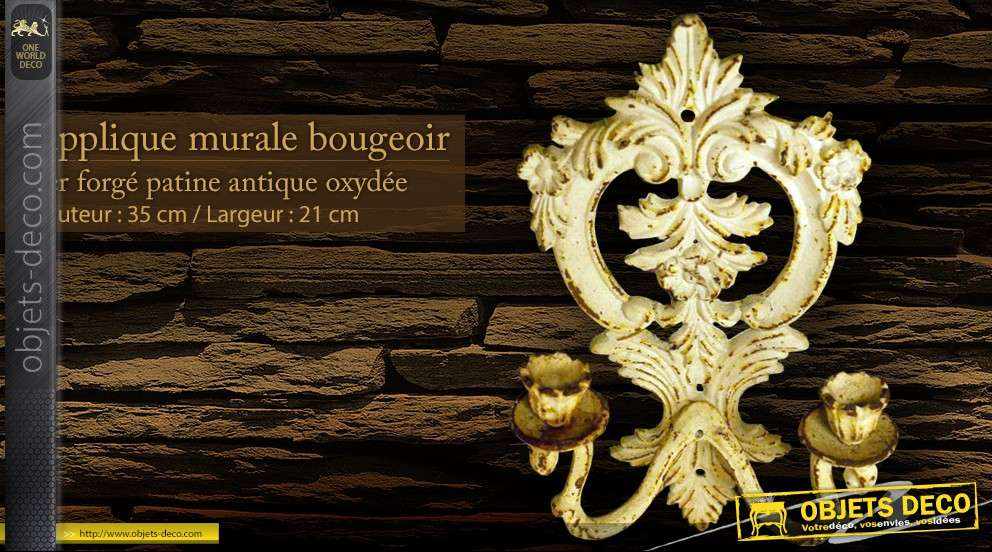 Applique murale bougeoir patine antique for Bougeoir mural ancien