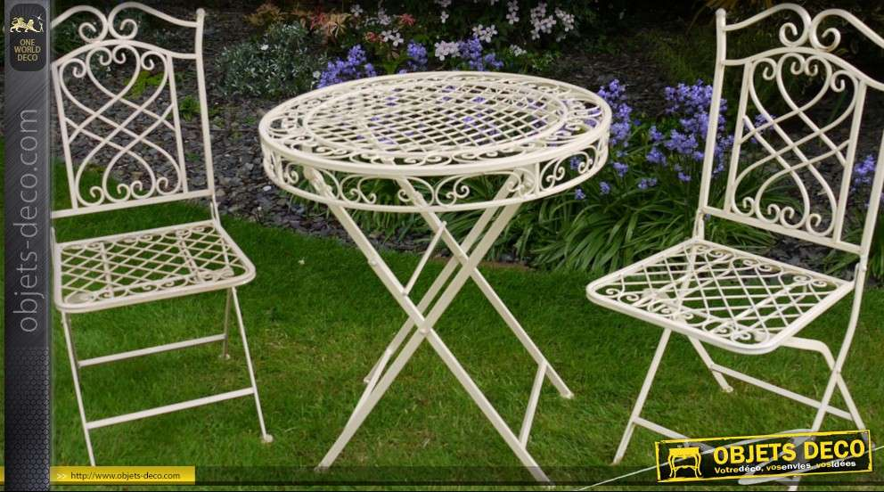 Salon de jardin fer forge vert mobilier d coration for Decoration de jardin en fer forge