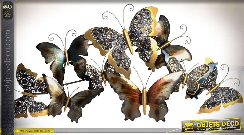 Grande Deco Murale En Metal Papillons Dores 1 Metre