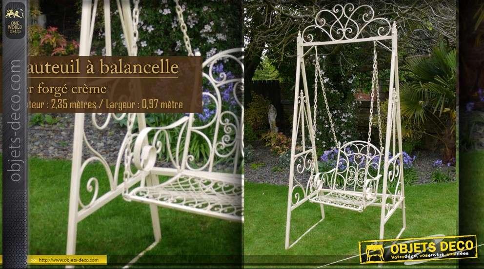 fauteuil balancelle en fer forg cr me. Black Bedroom Furniture Sets. Home Design Ideas