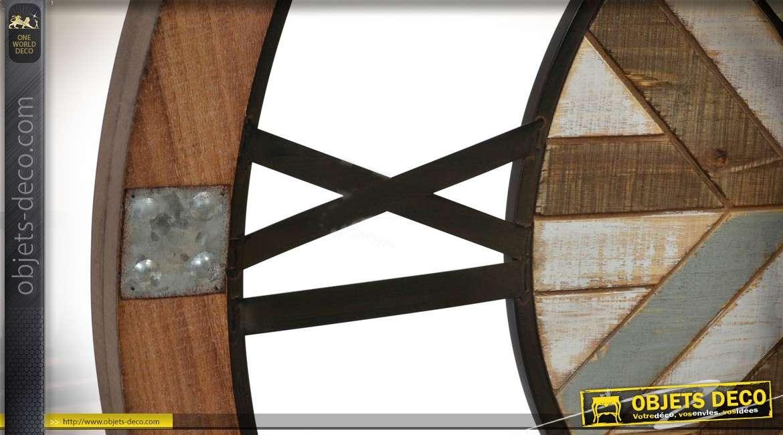 Horloge murale XXL Ø 80 cm forme roue de charette ancienne
