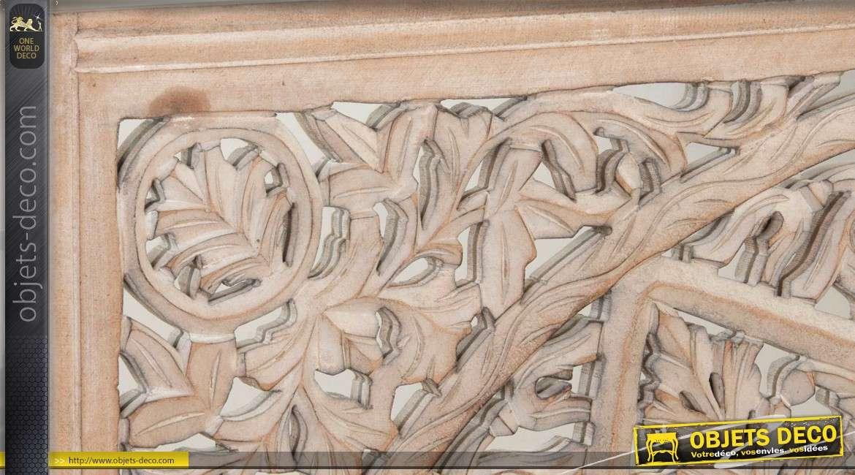 Fresque murale en bois naturel et miroir motif étoilé 120 x