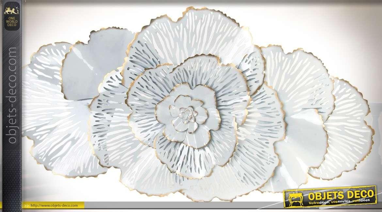 d coration murale en m tal et en relief fleurs de corail blanc 135 cm. Black Bedroom Furniture Sets. Home Design Ideas