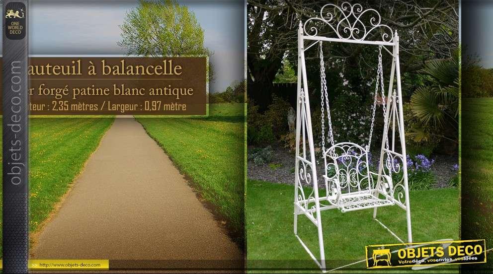Fauteuil balancelle en fer forg blanc antique - Balancelle de jardin suisse ...