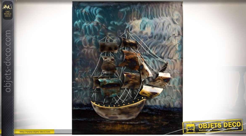 tableau mural en m tal et en relief voilier ancien 40 x 33 cm. Black Bedroom Furniture Sets. Home Design Ideas