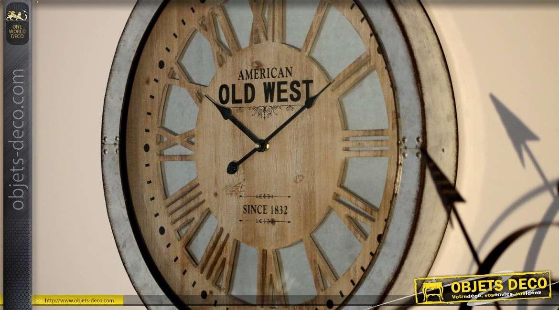 Horloge murale bodega design american old west en bois et m tal de 60cm for Horloge murale design bois