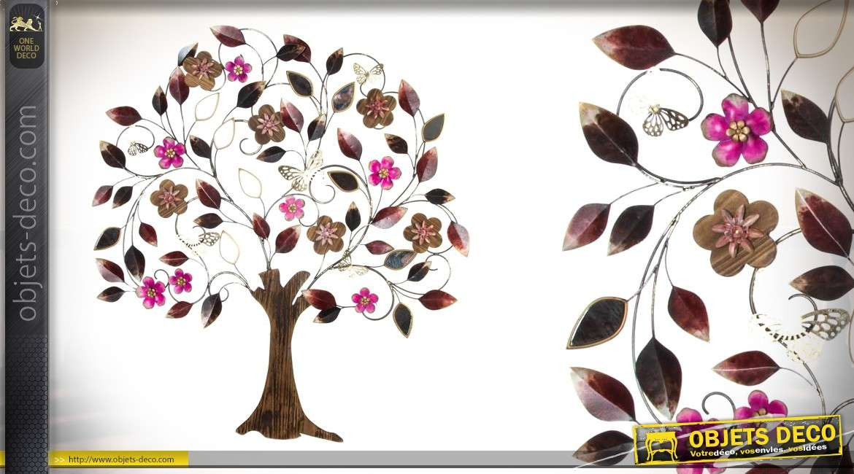 grande d coration murale en m tal cerisier en fleur 96 cm. Black Bedroom Furniture Sets. Home Design Ideas