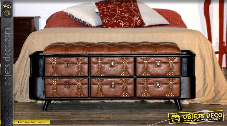 Banquette originale de style industriel avec 6 tiroirs on
