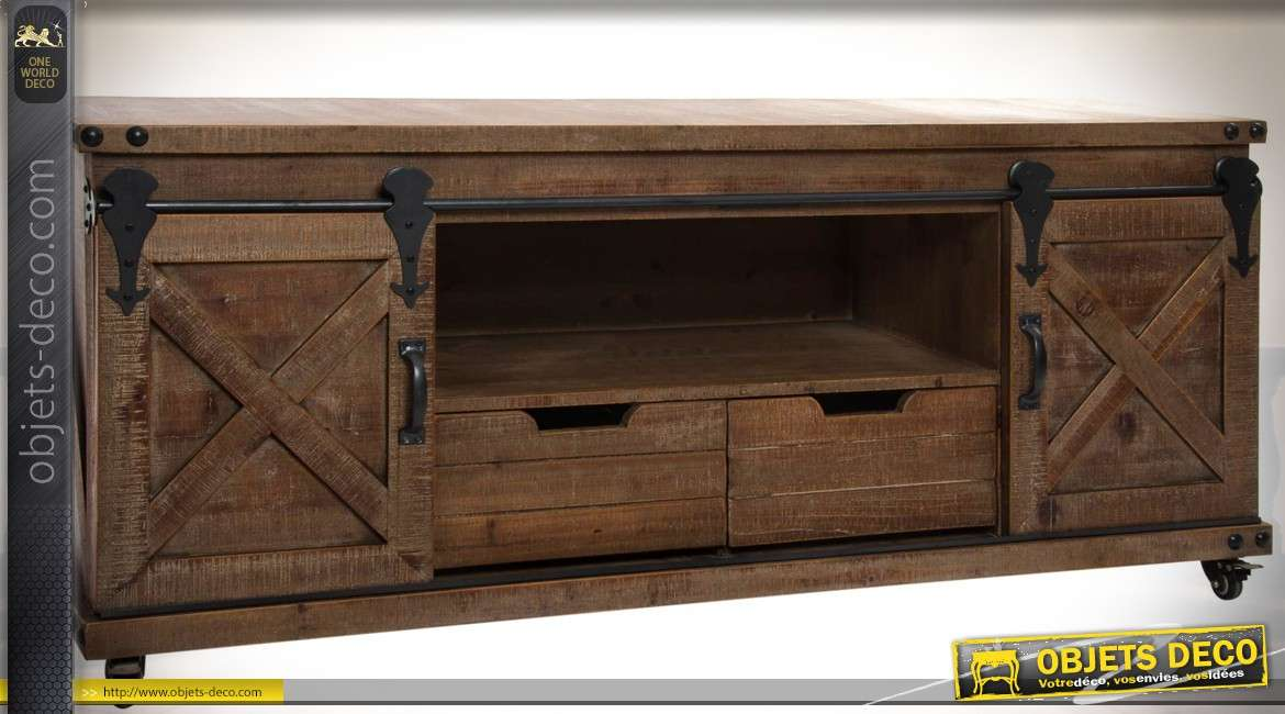 meuble tv de style rustique et indus bois et m tal 2 portes 2 tiroirs. Black Bedroom Furniture Sets. Home Design Ideas