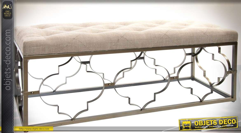 Bout de lit en m tal dor vieilli et tissu capitonn coloris lin cru 120 cm - Bout de lit capitonne blanc ...